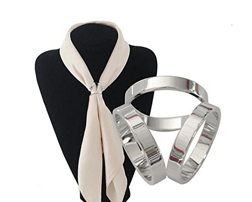 - 1PCS Oval Scarf Ring Modern Simple Triple-ring Three Layers Scarf Clips Metallic Scarves Buckle Jewelry (Silver)