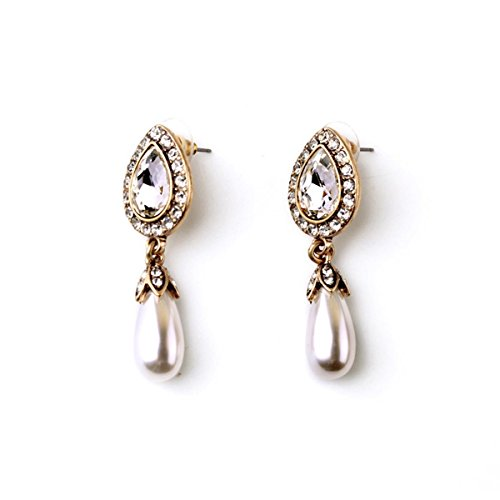T-Doreen Pearl Stud Earrings Crystal Stone Teardrop Dangle Earrings for Women