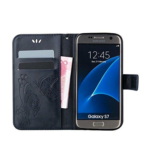 SRY-Funda móvil Samsung Funda Galaxy Note 5 de Samsung Galaxy, Estuche retro de folio con caja de folletos y correa para la mano Funda protectora de Shell para Samsung Galaxy NOTA 5 ( Color : Purple , Dark Blue