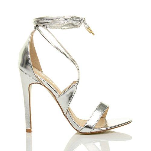 Femmes Talon Haut à Peine Là à Lanières Lacets Fête Sandales Chaussures Pointure Argent kdkvYs