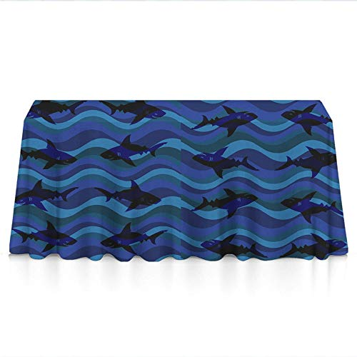 """Jinkela 100% Polyester, Machine Washable, Everyday Kitchen Tablecloth for Dinner Parties, Summer & Outdoor Picnics - 52""""x70"""", Blue Wave Shark"""