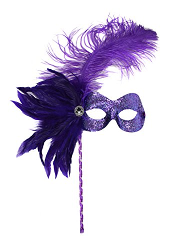 Missy Purple Glitter Women's Masquerade Mask on a Deluxe Stick (Feathered Masquerade Mask)