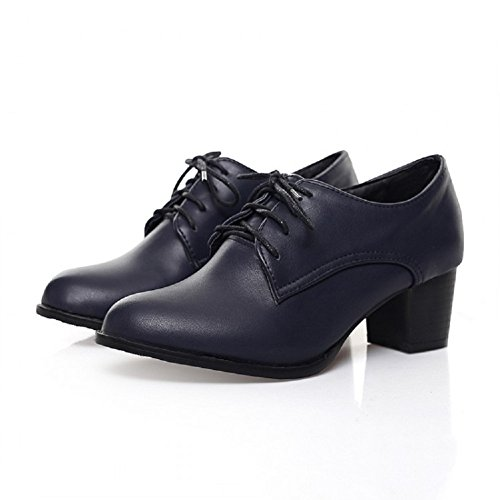 Lace Up Blue Shoes Foot Dark Mid Oxfords Fashion Heel Charm Womens 0p8wq