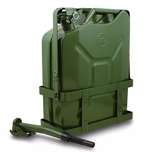 Generic YC-AUS2-150922-25  itary TSteel Tank Fuel Steel Tank 5 Gallon 20L Green W// Holder Gas Jerry Can Nato Style Military T 5 Gallon 20