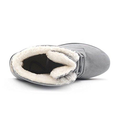 Chaussure souple Chaud Bottines Hiver Antidérapant de Gris Eagsouni Femmes Neige Fourrure Sole Bottes Doublé Neige WTg01qTF
