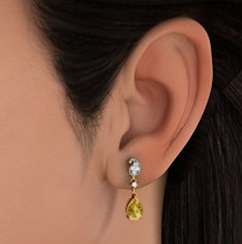 14K Or jaune 0.18CT TW White-diamond (IJ | SI) et citrine Pendants d'oreilles