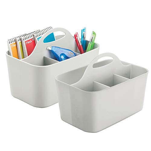 mDesign Office Supplies Desk Organizer Tote for Scissors, Pens, Pencils, Notepads - Pack of 2, Small, Gray