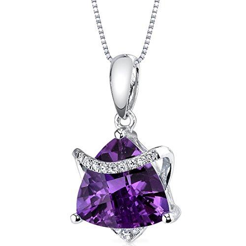 (14 Karat White Gold Trillion Cut 2.43 carats Amethyst Diamond Pendant)