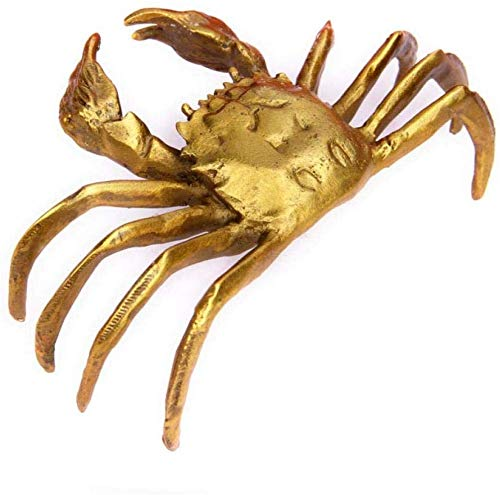 UNIQUE CHINA RED COPPER CRAB LOTUS STATUE DECORATIVE GIFT COLLECTION OLD