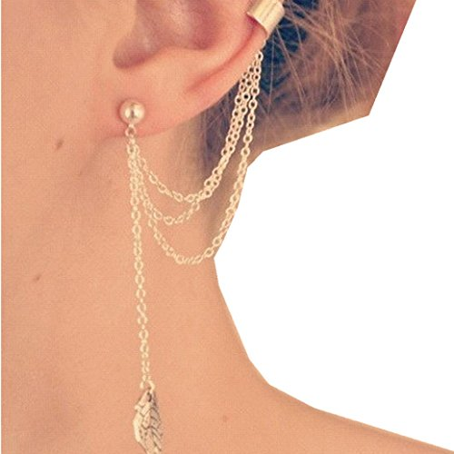 Clearance   Yang Yi 2018 Fashion Jewelry Gift Women Punk Personality Clip Tassel Leaf Charm Metal Ear Clip Stud Earring  7 5Cm 7Cm  Gold