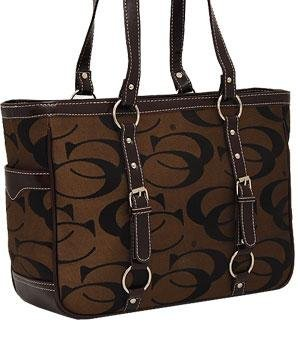 Signature Buckle Tote - Buckle Trim Signature Tote Bag HANDBAG PURSE - BROWN