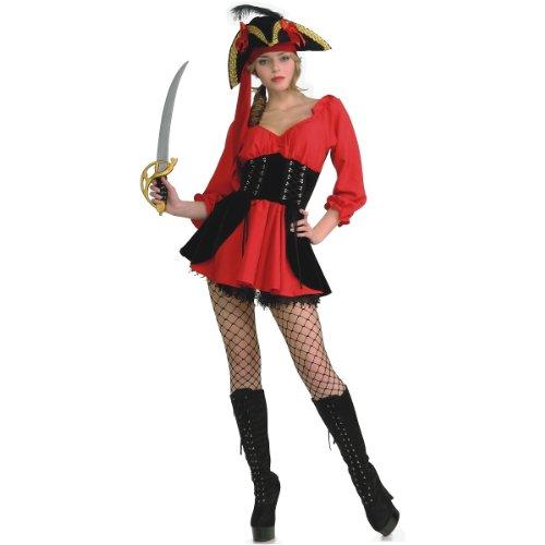 [Secret Wishes Women's Sassy Pirate Wench Costume Dress, Red/Black, Medium] (Pirate Maiden Adult Costumes)