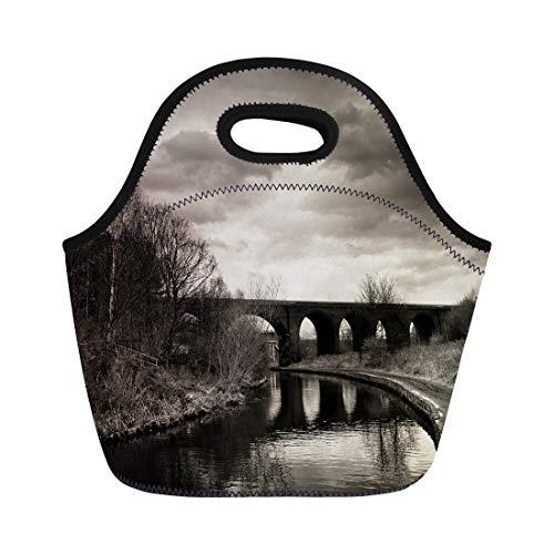 Tinmun Lunch Tote Bag Black and White of Arc Bridge Dramatic Sky Reusable Neoprene Bags Insulated Thermal Picnic Handbag for Women Men