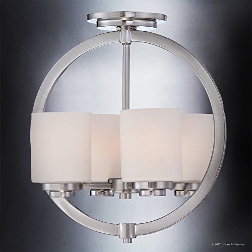 Luxury Contemporary Semi-Flush Ceiling Light, Medium Size: 15''H x 14''W, with Traditional Style Elements, Globe Design, Pretty Brushed Nickel Finish and Opal Etched Glass, UQL2171 by Urban Ambiance by Urban Ambiance (Image #2)