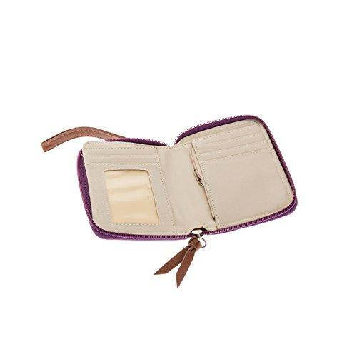 Zipper Boho Chevron Clutch Leather w Crochet Wristlet w Faux Wallet Purple Small Organizer vwqS7vxr
