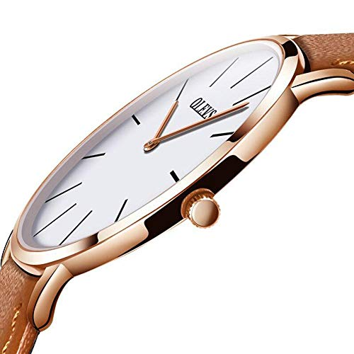 Thin Mens Watch Leather,Fashion Minimalist Men's Dress Watches,Rose Gold Case Business Casual Men Wrist Watch with Yellow Strap,Ultra Thin Mens Watches,Waterproof Wrist Watch for Men