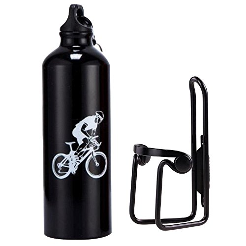 Side Cage Entry (Baiyu Bicycle Water Bottle Cage Holder and Bike Water Bottle 750ml Aluminum Alloy Rack Bracket Universal Drink Bottle Mount Carrier Cycling Handlebar Component Support Kit+CE Standard 4 Colors-Black)