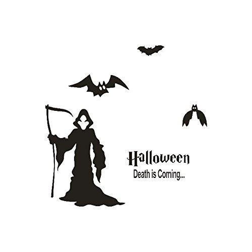OTTATAT Wall Stickers For Bathrooms 2019,Happy Halloween Witch Bats Window Home Decoration Decal Decor Easy to peel Wedding Wedding night Gift for girlfriends Free post Under 5 dollars -