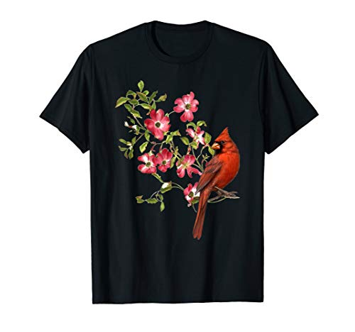 Red Cardinal Bird And Pink Flowering Dogwood Blossoms Tshirt