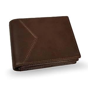 Lavievert Men's RFID Wallet/Crazy-Horse Genuine Leather Travel Bifold Wallet Central ID Window