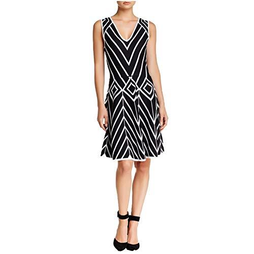 Yoana Baraschi Womens Suki Basket Weave Fit & Flare Dress Black-White Large