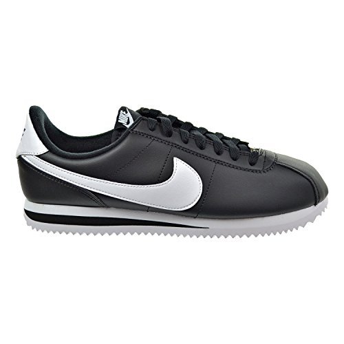 Nike Cortez Basic Leather Men's Shoes Black/White/Metallic Silver 819719-012 (10.5 D(M) US) (Cortez Mens Nike White)