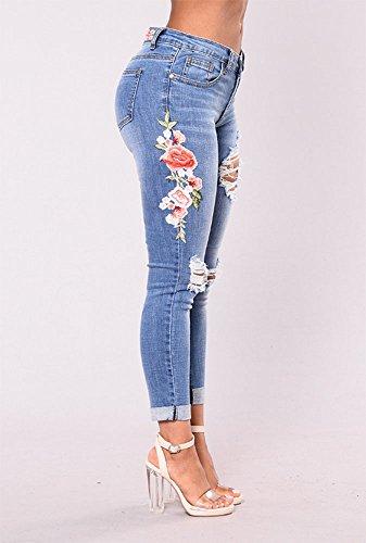 mujeres cintura Azul bordado Jeans denim con de Skinny Las agujeros florales alta Tw1dTq