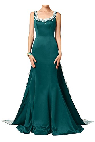 Dresses Backless DreHouse Prom Mermaid Women's Embroidery Applqiues Hunter Green Evening Train Gowns with wOqAU
