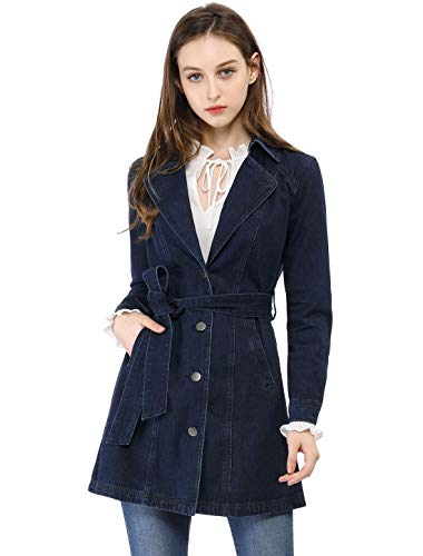 Allegra K Women's Notched Lapel Belted Trench Long Jean Denim Jacket XS -