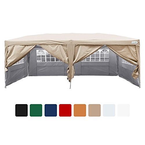 Quictent 20x10 EZ Pop Up Party Tent Canopy Gazebo 6 Walls W/Free Carry Bag Waterproof-7 Colors (Beige)
