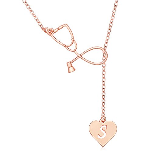 MANZHEN Rose Gold Plated Medicine Stethoscope Heart Initial Alphabet Letter Necklace for Doctor Nurse (S)