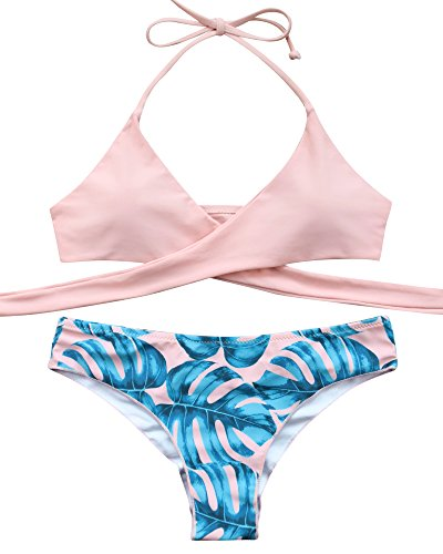 MOOSKINI Womens Padded Push-up Bikini Set Bathing Suits Two Pieces Swimsuit Light Pink Large