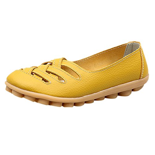 Fereshte Dames Knipsel Lederen Instappers Casual Moccasin Rijschoenen Indoor Platte Slip-on Slippers Aarde Geel