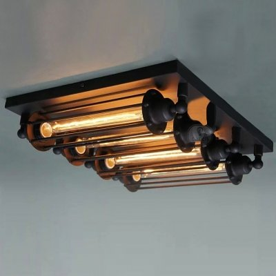 ding 4-light Black Industrial LOFT Punk Steam Wall Washer