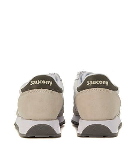 Sneaker Saucony Jazz in pelle bianca e suede beige white-charcoal
