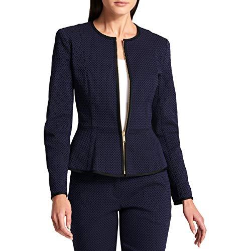 (DKNY Womens Printed Zip-Front Collarless Blazer Blue 4)