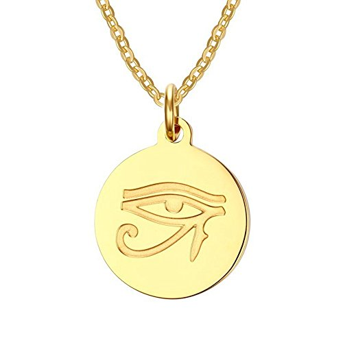 Silver Line jewellery Gold Plated Necklace EYE OF HORUS Ancient Egyptian Symbol of Protection, Royal Power and Good Health