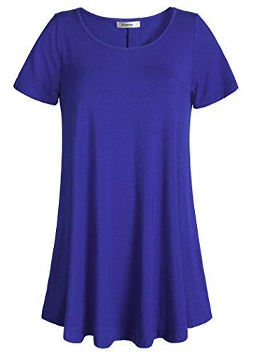 (Esenchel Women's Tunic Top Casual T Shirt for Leggings XL Royal Blue)