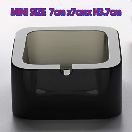 Crystal Ashtray ,Mini Size Black Flat Fashion Creative Glass Ash, Clear and Heavy Suitable for Living Home or Hotel and Office, Suitable for 1 Person,In Favour of smoking controalling. Art Glass Bubble Ashtray