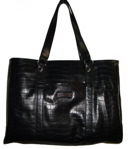 Tommy Hilfiger Women's Laptop Carrying Tote Handbag, Large, Black