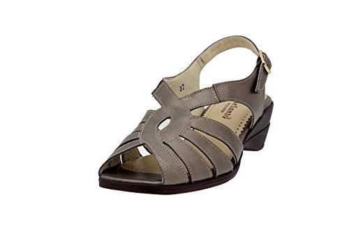 Calzado mujer confort de piel Piesanto 2553 sandalia zapato cómodo ancho Taupe