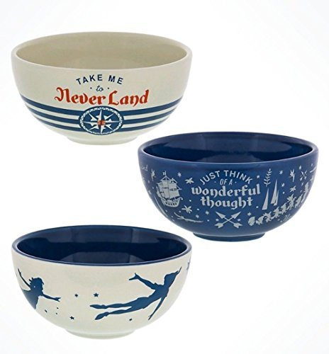 Disney Parks Peter Pan Neverland Ceramic Bowls Set of 3
