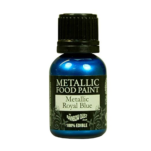 - Ready-to-use Metallic Royal Blue 100% Edible Food Paint for Cake and Icing Decoration by Rainbow Dust