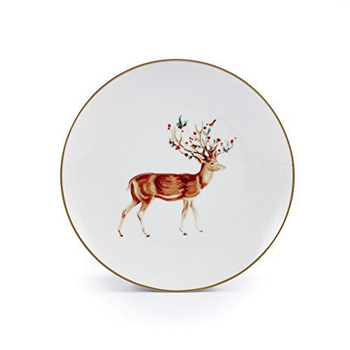 Brilliant - Holiday Christmas Rudolph Tableware (8 inch Dessert Plates, Set of 4)