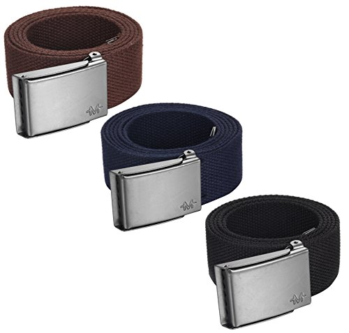 """Casual Canvas Belt (Marino men's casual belt, Web belt military style 1.5"""" Up to 54 Waist, 3 in 1 pack, with bottle opener Steel buckle, in an Elegant Gift Box - Black-Navy-Brown -)"""