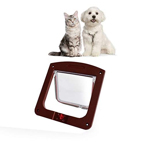 SAUWERAY Cat Door, Four-Way Locking, Acrylic Material is Durable, Cat Door for Interior Doors, Suitable for Cats and Small Dogs,Brown