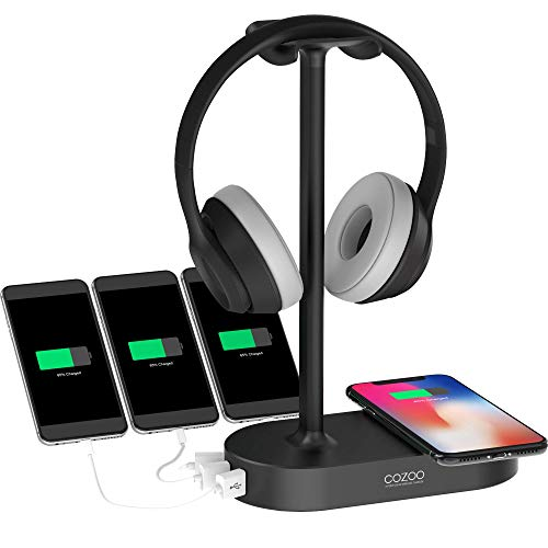 QI Headphone Stand with USB Charger COZOO Gaming Headset Holder Hanger with 3 Port USB Charging Station and Wireless Charging Pad - Suitable for Gaming, DJ, Wireless Earphone Display (Black)
