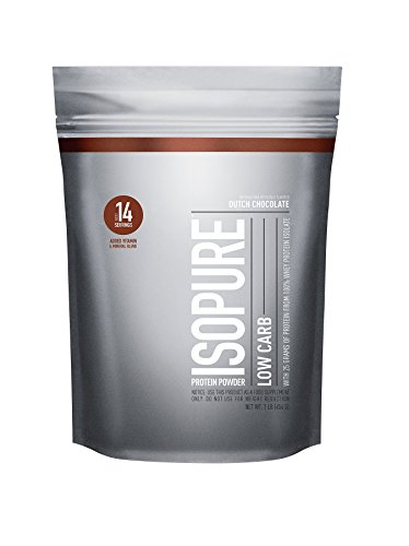 Isopure Low Carb Protein Powder, 100% Whey Protein Isolate, Flavor: Dutch Chocolate, 1 Pound (Packaging May Vary)