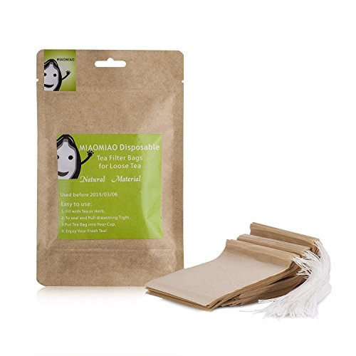 MIAOMIAO unbleached tea filter bags, 【safe and natural material, better leading,100 count】 disposable tea infuser, 1-tea pot capacity, drawstring empty bag for loose leaf tea (3.3in3.8in)
