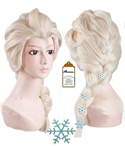 Anogol Hair Cap+ Kids Blonde Cosplay Wig Party Wigs Braid With 6 Hairpins]()